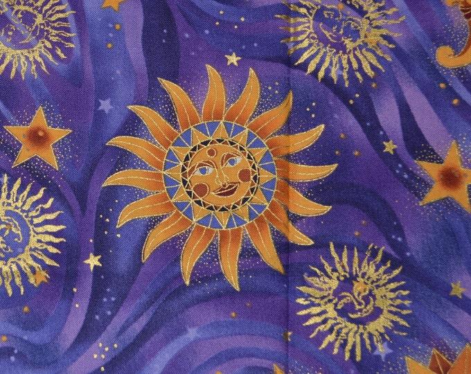 Clutch bag Fabric Stars and moon with face moon face fabric celestial fabric boho hippie fabric Robert Kaufman