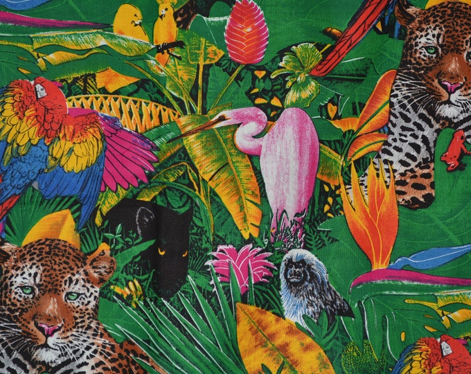 Vintage Fabric Tropical jungle animals, Shamash and sons