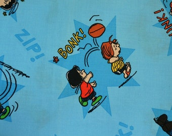 Charlie Brown fabric, Peanuts gang fabric, comic book words