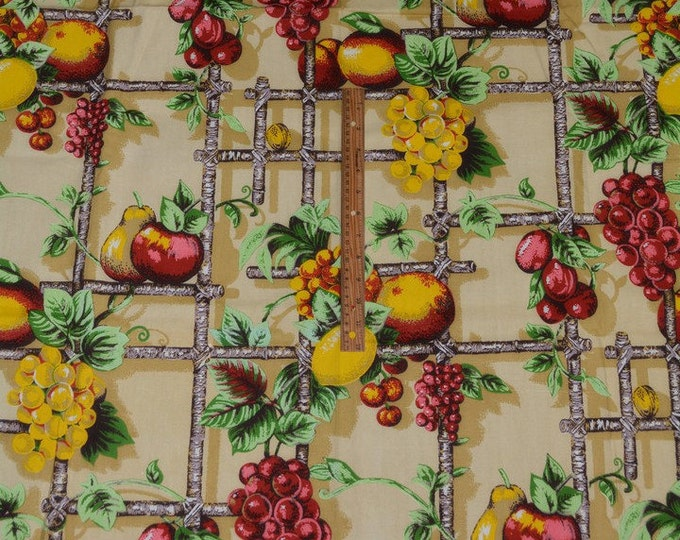 Fruit fabric, 1970s upholstery fabric trompe l'oeil with hanging fruit on trellis