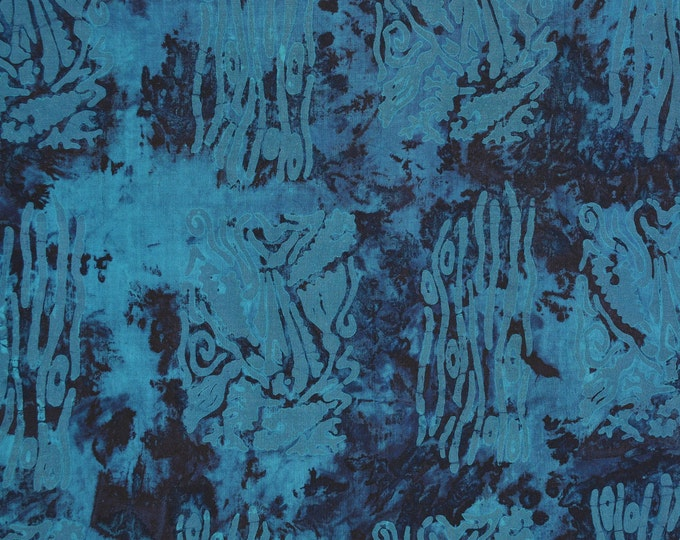 Tropical Blue tie dye Batik fabric, ethnic tribal abstract block print