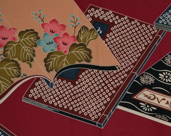 Asian fabric, Japanese book print fabric by Alexander Henry OOP and rare fabric