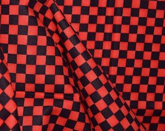Black Orange checkerboard fabric, Halloween fabric, blender fabric