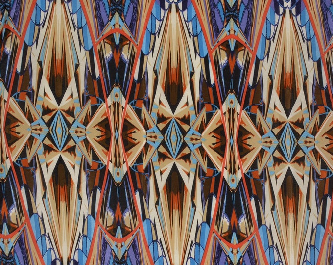 Pure Silk fabric vintage, abstract silk chiffon yardage