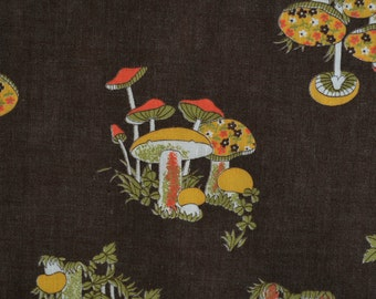 70s vintage fabric mushroom fabric brown orange avocado yellow