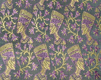 Rare fabric finds Nefertiti Cleopatra silk rayon Jacquard brocade fabric Egyptian queen