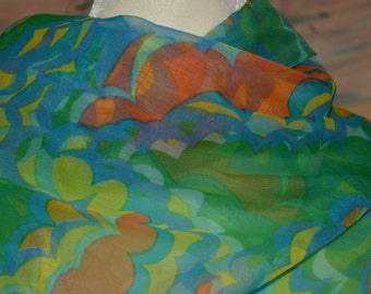 Vintage sheer fabric abstract Mod fabric green orange blue made in Japan