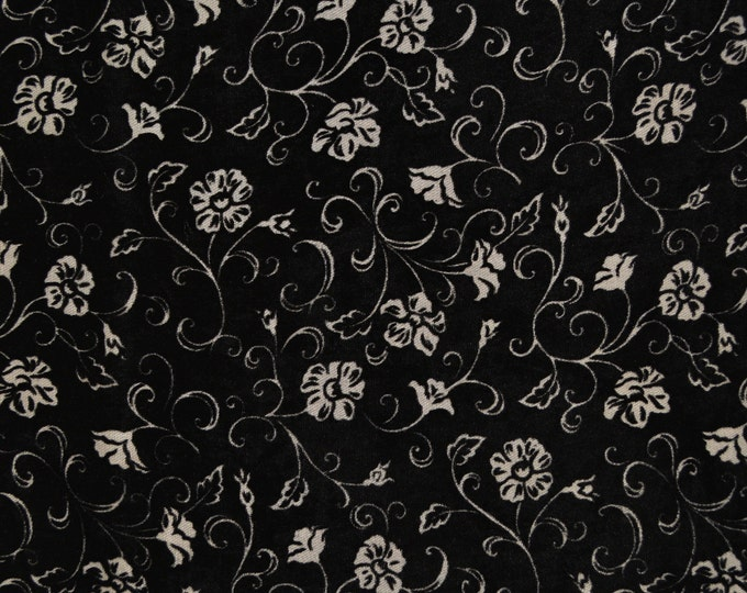 Vintage velvet burn out fabric remnant, Black Floral velvet