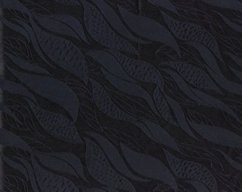 Sand washed Silk fabric by the yard, seaweed abstract leaves damask jacquard pattern
