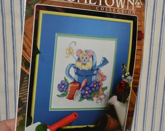 Vintage Counted Cross stitch kit, gardening theme watering can and mice