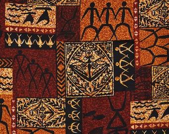 Vintage Hawaii fabric, Tiki Polynesian Tapa Trans Pacific Textiles