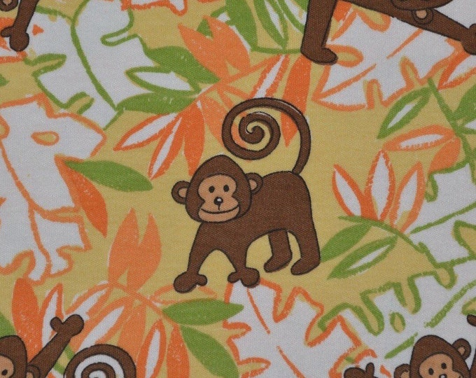 Jersey knit fabric baby cotton knit printed fabric baby Monkey fabric by the yard
