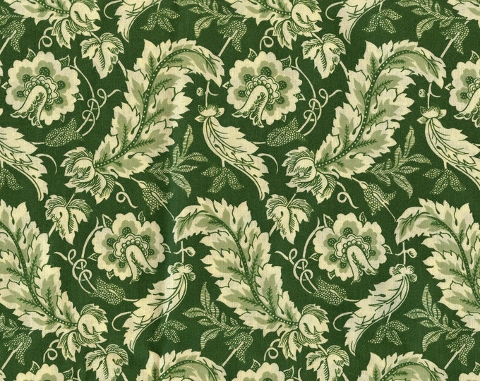 100 % cotton fabric, Ornamental leaves fabric, scroll leaf, colonial vibe P and B Textiles