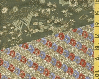 Japanese patchwork fabric with geometric and floral patterns, cotton poly blend
