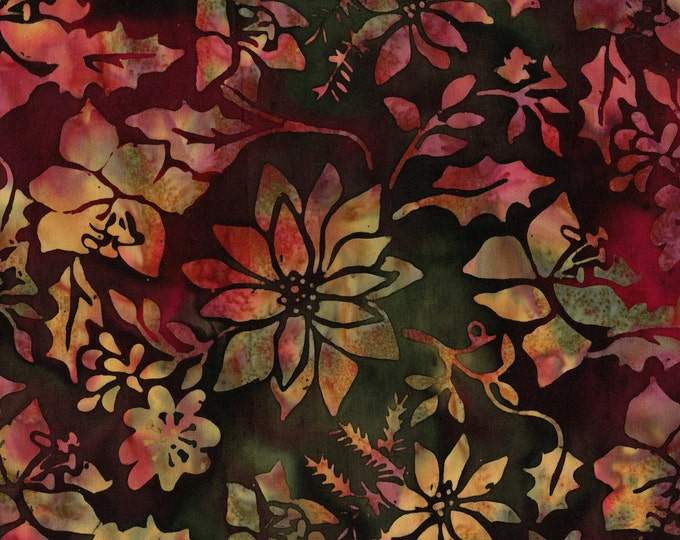 Christmas floral batik fabric, poinsettias fabric with holly leaves