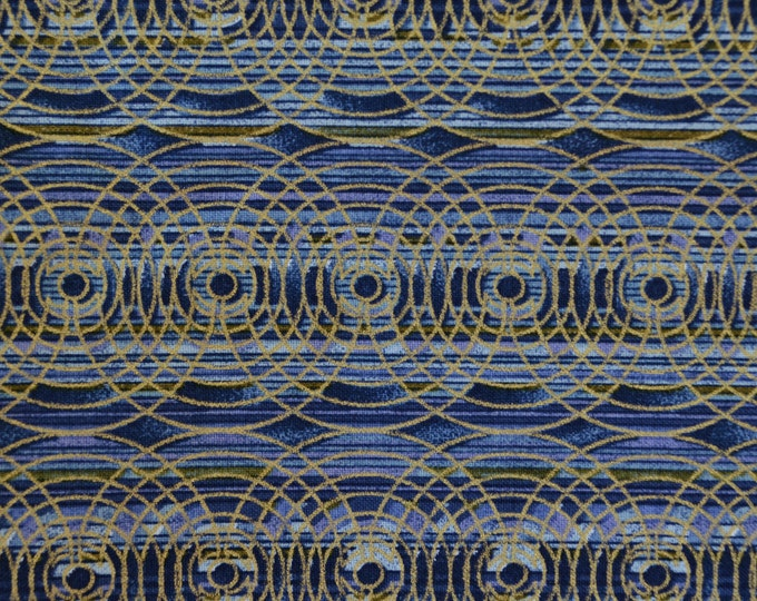 Deco geometric fabric VHTF blue gold striped fabric half yard quilting fabric