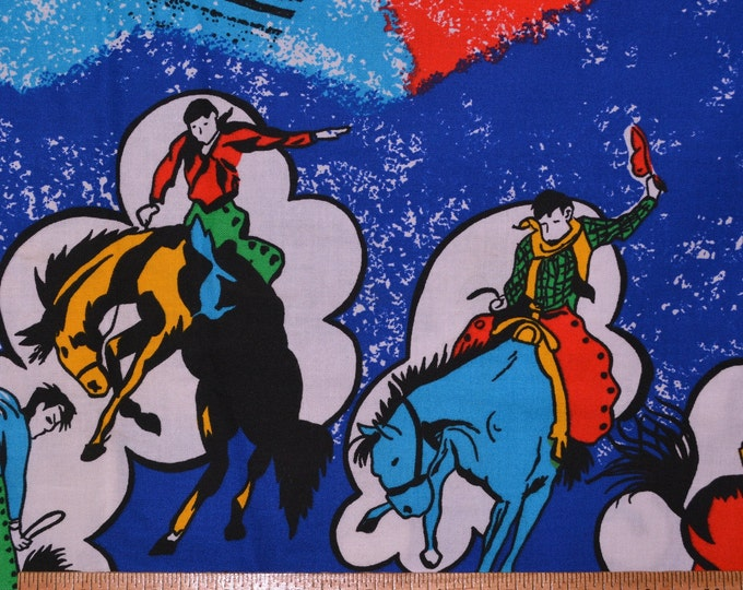 Retro cowboy fabric, illustrated western cowboy, rodeo fabric, double border as is