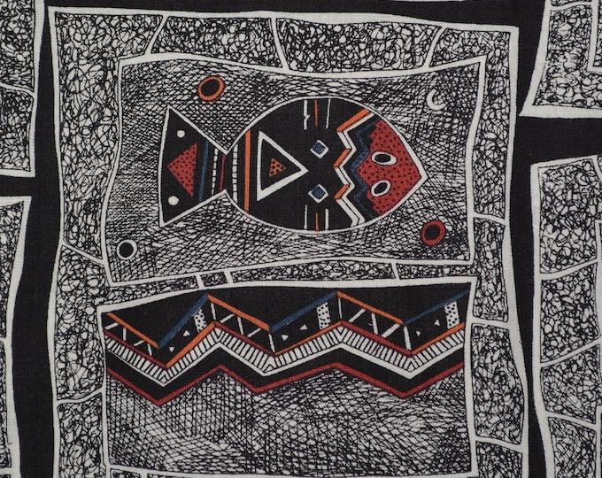 Aboriginal fabric fish reptiles Hoffman fabric OOP