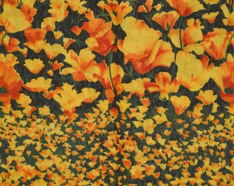 California poppy fabric, quilters fabric by the yard