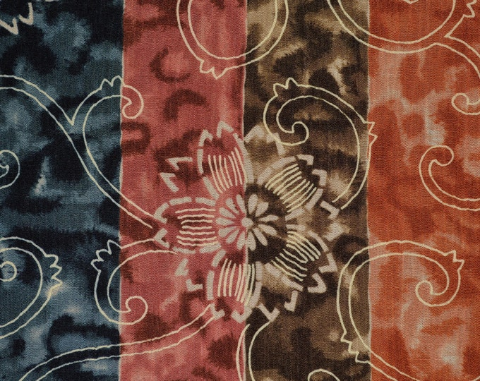 Crepe rayon fabric gauzy crinkled fabric for boho clothing with wide floral stripe