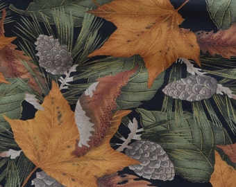 Fall leaves fabric with pine cones, Autumn color quilting cotton, Seattle Bay