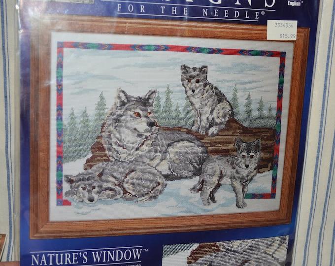 Counted cross stitch kit, Call of the Wild wolf theme needlework kit, NIP unopened