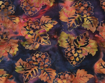 Grapes batik fabric, multi color for wine quilt