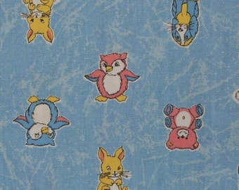 Baby animals fabric retro baby cotton canvas fabric 70s baby
