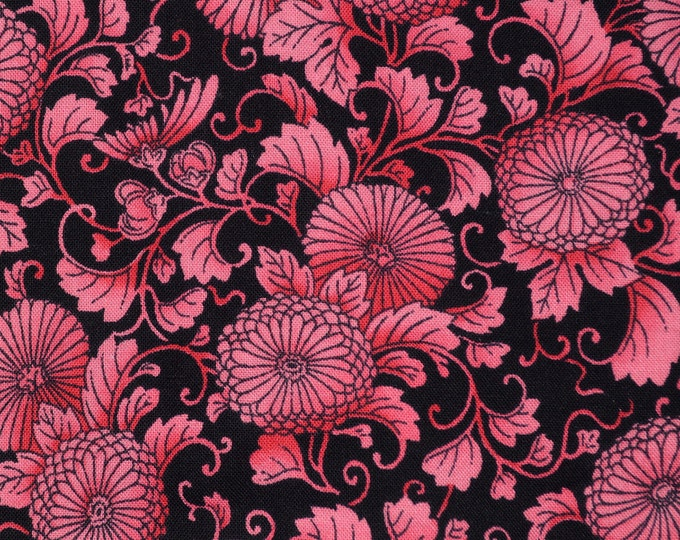 RJR Fabric Asian Japanese print mum flower