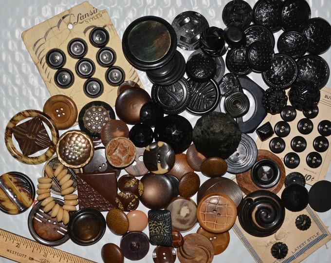 vintage button lot black button lot brown button lot