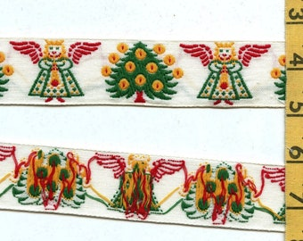 Vintage angels Christmas fabric trim, embroidered cotton