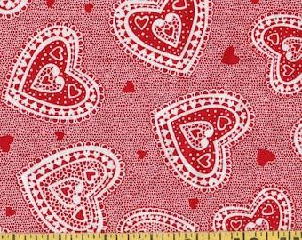 Valentine novelty fabric, doily Hearts fabric
