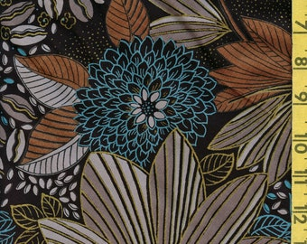 Tropical rainforest leaves fabric, cacao plant and beans woven rayon apparel width