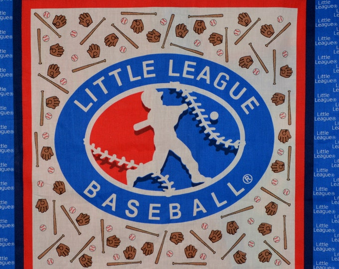 Vintage fabric, Little League baseball fabric panel for pillow or quilting