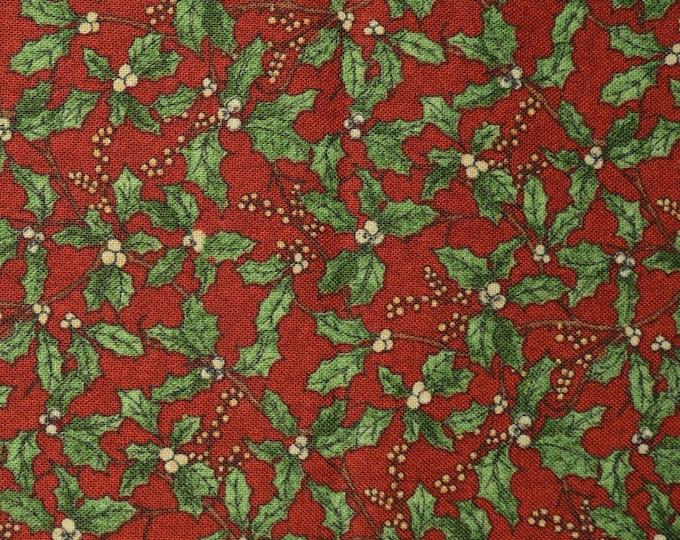 Christmas holly leaves fabric half yard cuts