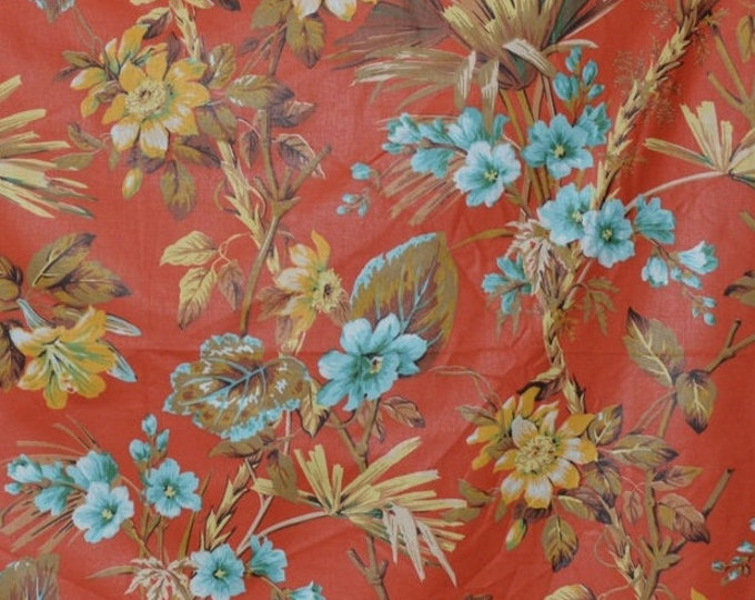 70s decor upholstery fabric tropical leaf jungle decor Asian decor vintage Waverly