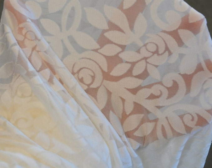 See through Sheer floral fabric, burnout floral fabric