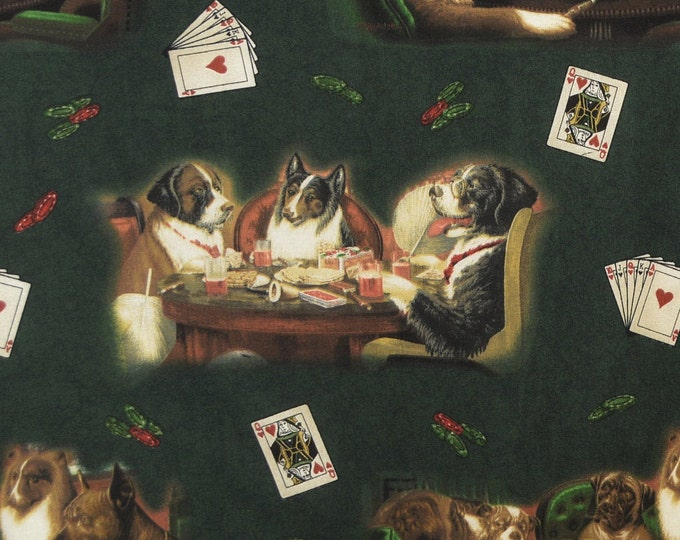 Poker dogs playing cards VIP Cranston fabric Brown and Bigelow