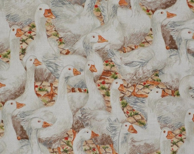 Geese fabric makower fabric farm animals