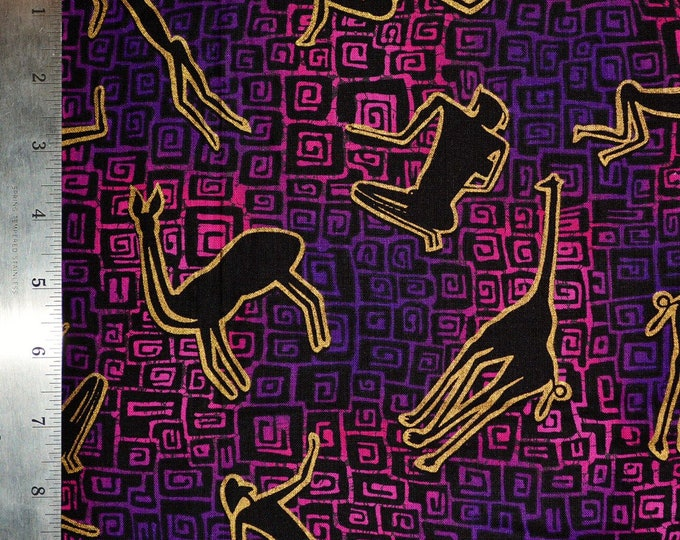 Funky 80s fabric paleo cave man fabric by the yard with African animals