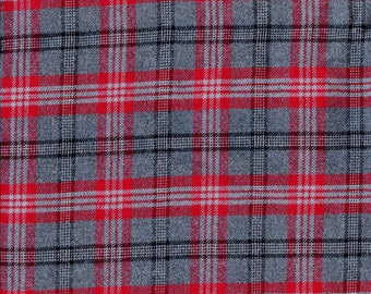 Pure wool plaid fabric by the yard, black grey and red