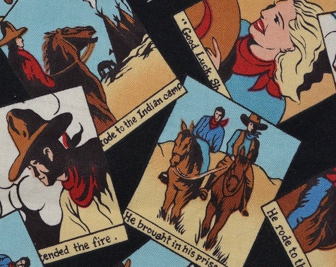 Cowboy fabric, comic strip, Roy Lichtenstein look by Robert Kaufman fabric