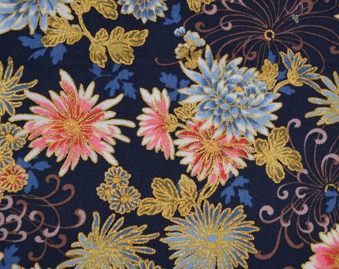 Japanese floral fabric pink blue gold metallic chrysanthemum kiku fabric