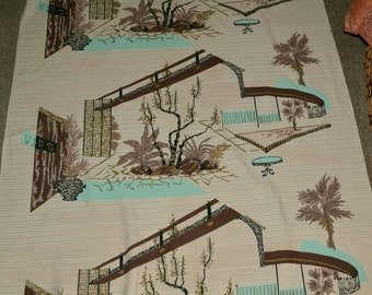 Mid century modern fabric, atomic age fabric with architectural design