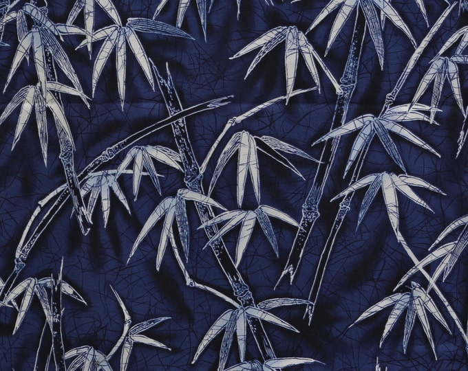 Asian Blue Japanese fabric Robert Kaufman fabric bamboo leafs
