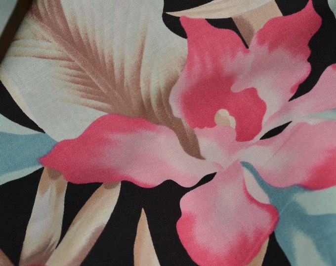 80s deco fabric Tropical fabric pink orchid 80s colors