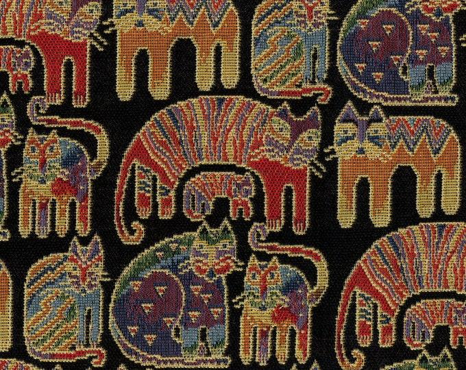 Laurel Burch tapestry cat fabric 3 remnants