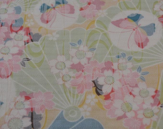 Semi Sheer fabric Japanese floral burnout fabric pastel Asian print