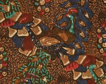 Vintage Batik Tulis fabric, Java Batik peacocks
