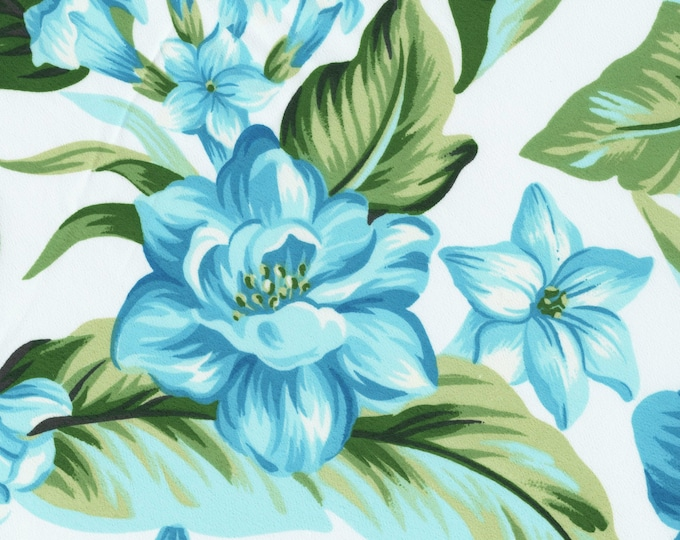 Blue Tropical floral fabric yardage, hibiscus flowers